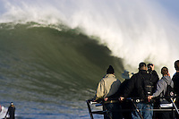 Fans view the lineup from the floatilla during the 2009/2010 Sony Ericsson/Barracuda Networks, Mavericks Surf Contest on Saturday February 13, 2010...
