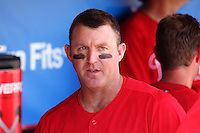 Philadelphia Phillies designated hitter Jim Thome #25 in the dugout before a spring training game against the Houston Astros at Bright House Field on March 7, 2012 in Clearwater, Florida.  (Mike Janes/Four Seam Images)