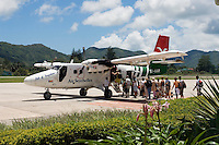 Seychelles, Island Praslin, airstrip: perfect for island hopping, aircraft of Air Seychelles - boarding<br />