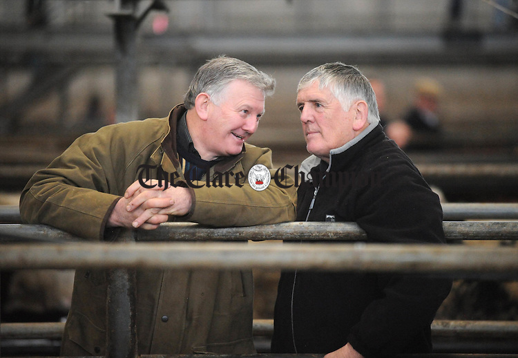 Tom Roche and Willie Corbett from Corofin in conversation at Ennis Mart on Tuesday. Photograph by Declan Monaghan