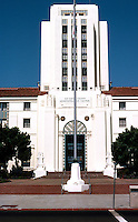 San Diego: San Diego City/County Building, 1935. Architects: Louis Gill, Richard Requa, W. T. Johnson, Hamill.  NRHP 1988. (Photo '80)