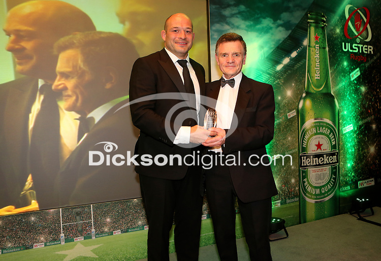 Thursday 10th May 2018 | Ulster Rugby Awards 2018<br /> <br /> Ireland and Ulster captain Rory Best presents a Special Recognition Award to Norman Pollock (AKA Sparky, during the 2018 Heineken Ulster Rugby Awards at La Mom Hotel, Belfast. Photo by John Dickson / DICKSONDIGITAL