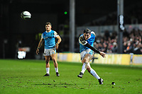 Sam Davies of Ospreys kicks a penalty wide win the 79th minute leaving the final score Dragons 23 Ospreys 22 during the Guinness Pro14 round 12 match between the Dragons and the Ospreys at Rodney Parade in Newport, Wales, UK. Sunday 30 December 2018