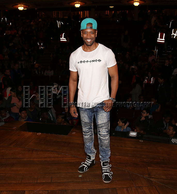 "Bryan Terrell Clark from the 'Hamilton' cast before The Rockefeller Foundation and The Gilder Lehrman Institute of American History sponsored High School student #EduHam matinee performance of ""Hamilton"" at the Richard Rodgers Theatre on 5/10/2017 in New York City."