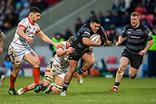3rd February 2019, AJ Bell Stadium, Salford, England; Premiership Rugby Cup, Sale Sharks versus Newcastle Falcons; Josh Matavesi of Newcastle Falcons breaks tackles and runs with the ball