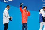 (L-R) Evan Strong (USA), Gurimu Narita (JPN), HAMARI Matti Suur (FIN), <br /> MARCH 16, 2018 - Snowboarding : Men's Banked Slalom StandingMedal Ceremony  <br /> at PyeongChang Medal Plaza <br /> during the PyeongChang 2018 Paralympics Winter Games in Pyeongchang, South Korea. <br /> (Photo by Yusuke Nakanishi/AFLO SPORT)