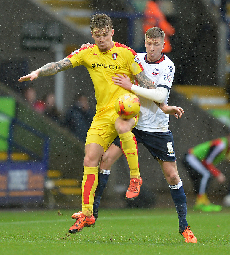 Rotherham United's Danny Ward battles with Bolton Wanderers' Josh Vela<br /> <br /> Photographer Dave Howarth/CameraSport<br /> <br /> Football - The Football League Sky Bet Championship - Bolton Wanderers v Rotherham United - Saturday 6th February 2016 - Macron Stadium - Bolton <br /> <br /> &copy; CameraSport - 43 Linden Ave. Countesthorpe. Leicester. England. LE8 5PG - Tel: +44 (0) 116 277 4147 - admin@camerasport.com - www.camerasport.com