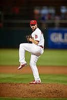 Memphis Redbirds relief pitcher Mark Montgomery (74) delivers a pitch during a game against the Round Rock Express on April 28, 2017 at AutoZone Park in Memphis, Tennessee.  Memphis defeated Round Rock 9-1.  (Mike Janes/Four Seam Images)