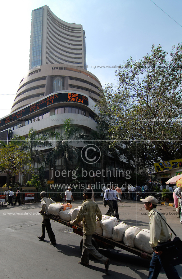 INDIA, Mumbai, stock exchange in Dalal Street, news ticker BSE Bombay Stock Exchange index / INDIEN, Mumbai, indische Boerse