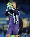 Leicester City goalkeeper Kasper Schmeichel celebrates at the end of the game towards the Leicester City fans<br /> - Barclays Premier League - Everton vs Leicester City - Goodison Park - Liverpool - England - 19th December 2015 - Pic Robin Parker/Sportimage