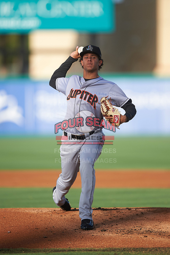 Jupiter Hammerheads starting pitcher Luis Castillo (12) during a game against the Palm Beach Cardinals on August 12, 2016 at Roger Dean Stadium in Jupiter, Florida.  Jupiter defeated Palm Beach 9-0.  (Mike Janes/Four Seam Images)