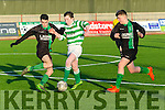 Fenit Samphires Celtic's Adam Cronin gets past Fenit's Christopher Murphy and Eoghan McElligott  in the Munster Youth Cup Kerry Area Final Fenit Samphires V Listowel Celtic at Mounthawk Park on Saturday
