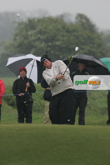 Day one from the 3 Irish open in Co Louth Golf Club..John Daly playing his third shot onto the 18th green..Photo: Fran Caffrey/www.golffile.ie..