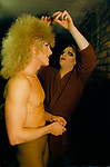 'HEN PARTY', DRAG ARTIST CANDY DU BARRY HAVING HIS WIG FIXED WHILE PREPARING IN DRESSING ROOM FOR SHOW AT THE DUKE OF CAMBRIDGE PUB, SOUTH LONDON