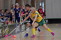 Australia&rsquo;s Blaise Hodges and Japan&rsquo;s Riko Iwasaki in action during the World Floorball Championships 2017 Qualification for Asia Oceania Region Final - Australia v Japan at ASB Sports Centre , Wellington, New Zealand on Sunday 5 February 2017.<br /> Photo by Masanori Udagawa<br /> www.photowellington.photoshelter.com.