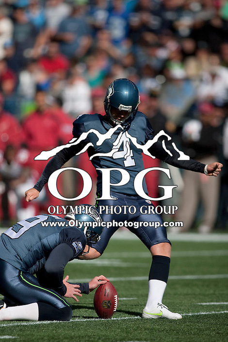 Sept 25, 2011: Steven Hauschka against Arizona. Seattle defeated Arizona 13-10 at Century Link in Seattle, WA.