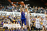 Mar 11, 2015; Portland, OR, USA;  La Salle Prep forward Tori Goodman shoots over Hermiston Bulldogs forward Abi Drotzmann in the 5A Girls Basketball State Championship at Gill Coliseum.<br /> Photo by Jaime Valdez