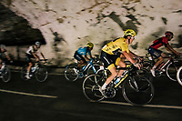 yellow jersey / GC leader Geraint Thomas (GBR/SKY) rolling through a huge dark cave: the 'Grotte du Mas-d'Azil'<br /> <br /> Stage 16: Carcassonne > Bagnères-de-Luchon (218km)<br /> <br /> 105th Tour de France 2018<br /> ©kramon