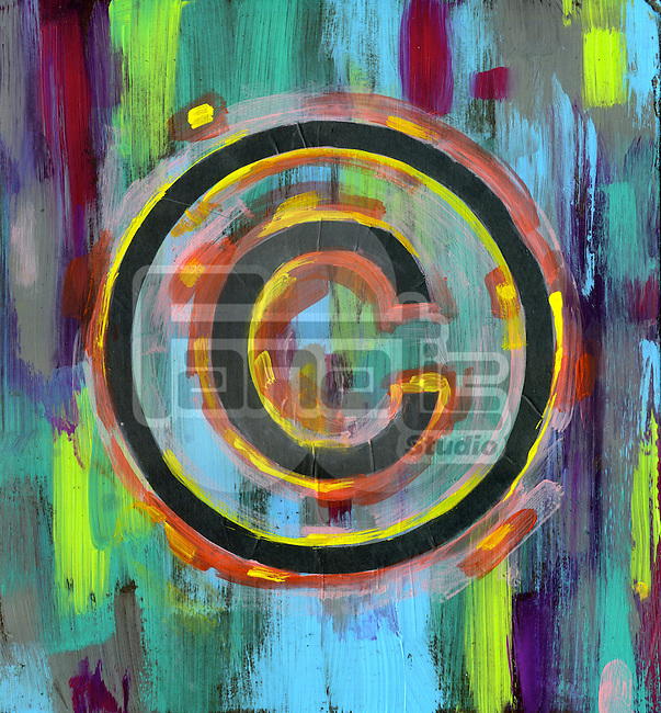 Illustrative image of copyright symbol over multi-colored background