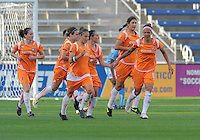 # 6 Natasha Kai of Sky Blue FC celebrates with team mates after scoring in the 79th minute.  Sky Blue FC beat the Red Star 2-0.