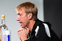 Swansea City manager Graham Potter speaks to reporters during the Swansea City FC press conference, at the club's Fairwood Training Ground near Swansea, Wales, UK