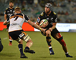 Sharks player Stephan Lewies (R) is tackled by Brumbies player Tom Cusack(L)  during the Super Rugby match between the ACT Brumbies and the South African Sharks in Canberra on March 17, 2018. AFP PHOTO / MARK GRAHAM --- IMAGE RESTRICTED TO EDITORIAL USE - STRICTLY NO COMMERCIAL USE --