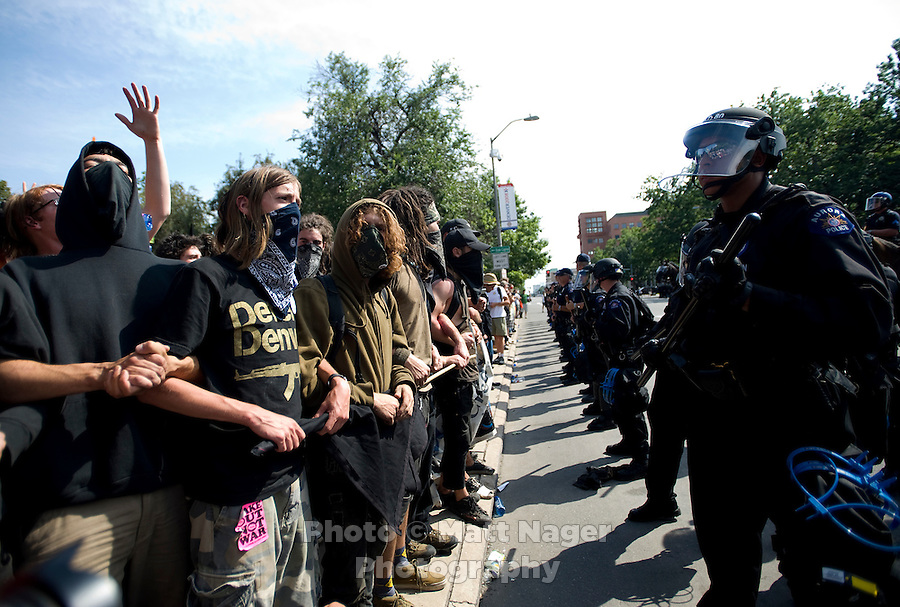 Unconventional Denver, a group of anarchists protesting the 2008 Democratic National Convention, walk through the streets of Denver, Colorado, Sunday, August 24, 2008...PHOTOS/  MATT NAGER