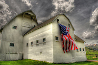 """4th of July Barn"" - Park City, Utah - McPolin Barn with American Flag"