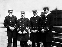 BNPS.co.uk (01202 558833)<br /> Pic: HAldridge/BNPS<br /> <br /> A young Charles Lightoller (left) on the RMS Oceanic in New York in 1909 - he was the most senior officer to survive the Titanic sinking three years later.<br /> <br /> A remarkable photo album taken by a White Star line officer Philip Agathos Bell that contains haunting before-and-after images of the most senior officer to survive the Titanic disaster has come to light.<br /> <br /> The contrasting snaps of Second Officer Charles Lightoller show him stood proudly and confidently in his White Star Line uniform in and then one of him looming gaunt and drawn from his recent ordeal.<br /> <br /> Another incredible image shows the football team for While Star Line.