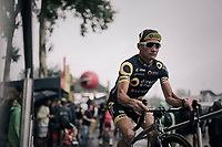 sign-on podium for Thomas Voeckler (FRA/Direct Energie)<br /> <br /> 104th Tour de France 2017<br /> Stage 12 - Pau &rsaquo; Peyragudes (214km)