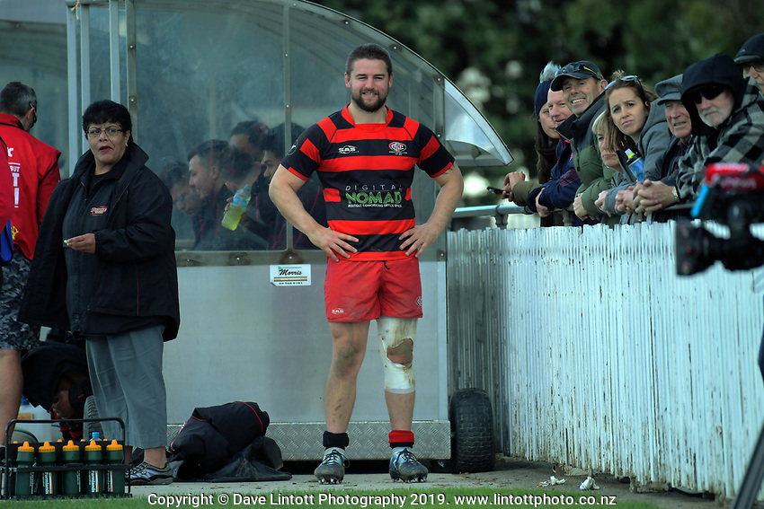 Dane Coles on the bench after playing the first half of the Wellington premier club rugby Swindale Shield match between Petone and Poneke at Petone Rec in Lower Hutt, New Zealand on Saturday, 25 May 2019. Photo: Dave Lintott / lintottphoto.co.nz