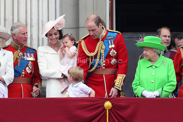 The Royal Family on the balcony of Buckingham Palace to watch the Royal Air Force flypast on the Queen's official birthday when she reviewed the Trooping of the Colour, London, England June 11, 2016.<br /> CAP/GOL<br /> &copy;GOL/Capital Pictures /MediaPunch ***NORTH AND SOUTH AMERIcAS ONLY***