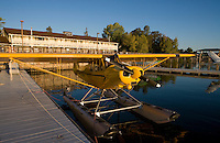Piper Super Cub on Floats docked at the Sky Lark Shores Resort dock, Seaplane Splash-In, Lakeport, California, Lake County, California