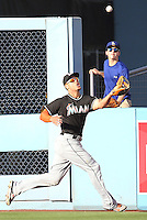 05/13/15 Los Angeles, CA: Miami Marlins right fielder Giancarlo Stanton #27 during an MLB game played at Dodger Stadium between the Miami Marlins and The Los Angeles Dodgers. The Marlins defeated the Dodgers 5-4