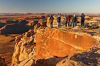 Photographers at sunrise, Muley Point overlook, Utah