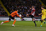 Matt Done of Sheffield Utd attempts to beat Kelle Roos of Bristol Rovers to a loose ball during the League One match at Bramall Lane Stadium, Sheffield. Picture date: September 27th, 2016. Pic Simon Bellis/Sportimage