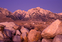 AJ3807, Mt. Whitney, Sierra Nevada Mountains, Lone Pine, California, Sunrise on Mount Whitney from Alabama Hills in the Eastern Sierra in Lone Pine in the state of California.