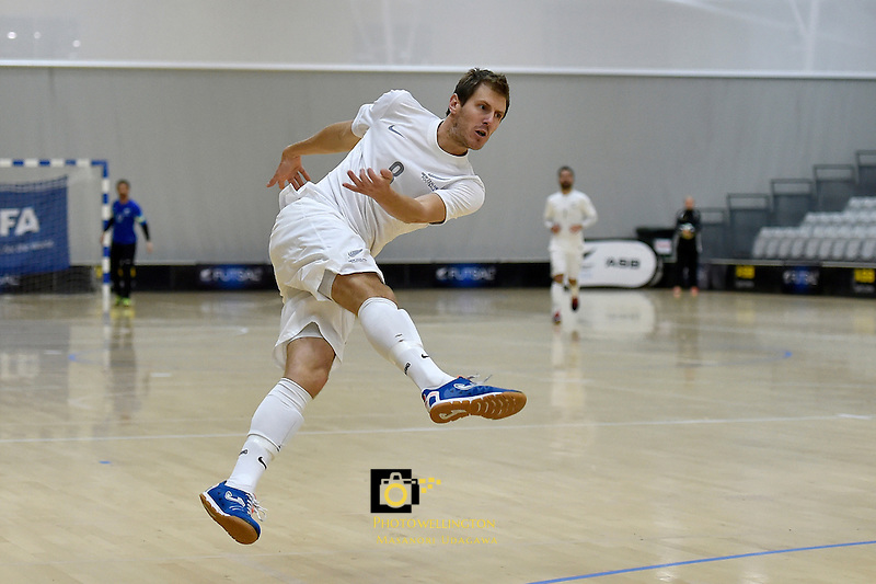 Futsal Whites' Daniel Burns in action during the Commonwealth Futsal Cup - New Zealand v Malaysia at ASB Sports Centre, Wellington, New Zealand on Saturday 11 July 2015.<br /> Photo by Masanori Udagawa. <br /> www.photowellington.photoshelter.com.