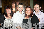 NEWLY ENGAGED: Glen Roche, Spa Road and Jessica O'Mahony, Kevin Barry's, Tralee celebrating their engagement and Glen's birthday last Saturday night in Gally's bar/restaurant, Tralee, pictured here with Lillian O'Mahony (far lt) and Steven Hopkins (rt).