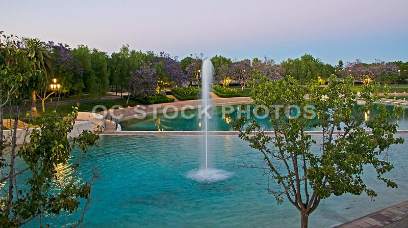 Peace Lake and Fountain at Soka University in Aliso Viejo