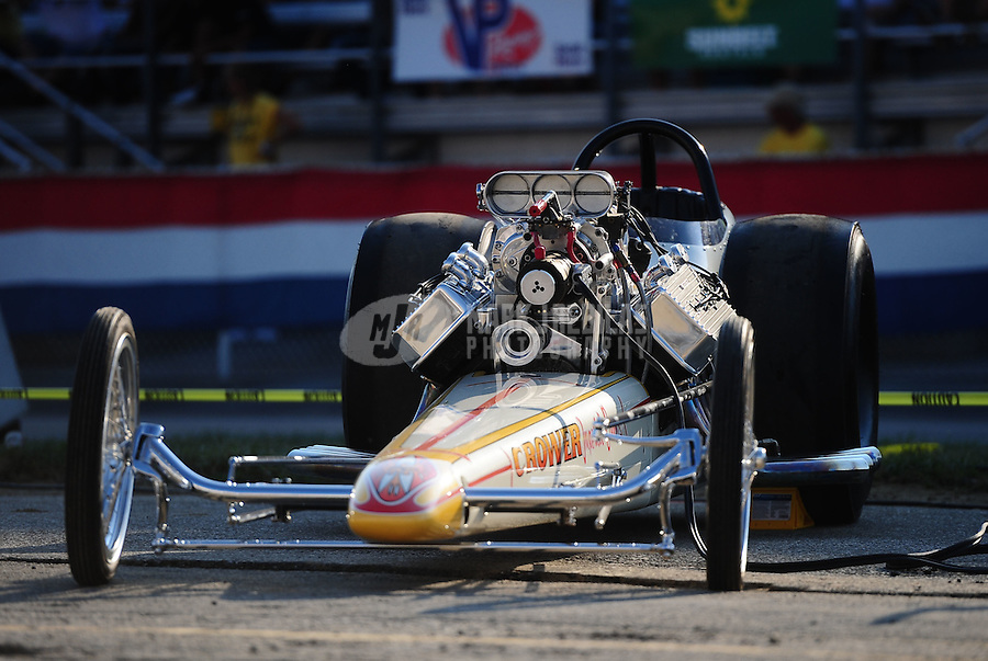 Sept. 2, 2011; Claremont, IN, USA: NHRA vintage top fuel dragster of driver Jerry Baltes in the cacklefest during qualifying for the US Nationals at Lucas Oil Raceway. Mandatory Credit: Mark J. Rebilas-