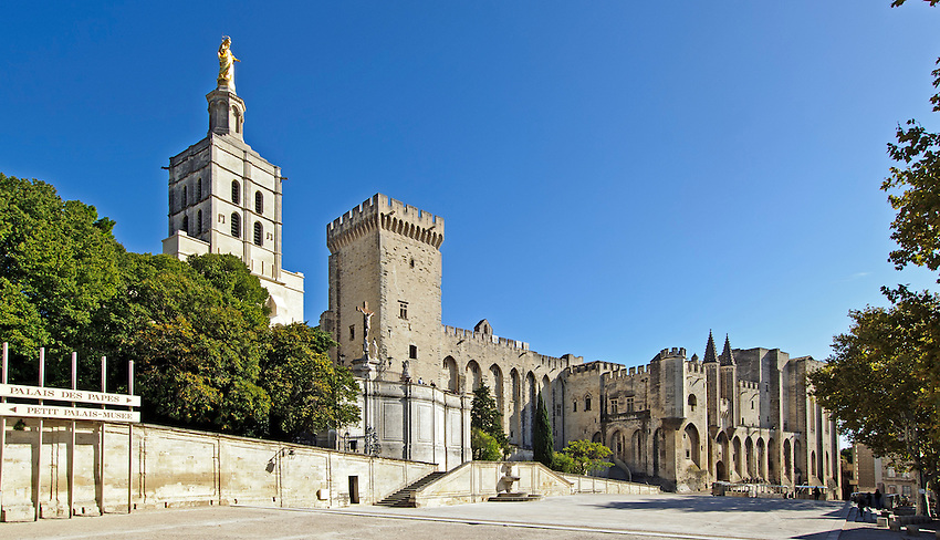The Palace of the Popes (Palais des Papes) in Avignon, Provence, France.