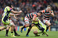 Ben Youngs of Leicester Tigers takes on the Sale Sharks defence. Aviva Premiership match, between Leicester Tigers and Sale Sharks on April 29, 2017 at Welford Road in Leicester, England. Photo by: Patrick Khachfe / JMP