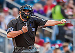 29 July 2017: MLB Umpire Marty Foster works home plate during a game between the Washington Nationals and the Colorado Rockies at Nationals Park in Washington, DC. The Rockies defeated the Nationals 4-2 in the first game of their 3-game weekend series. Mandatory Credit: Ed Wolfstein Photo *** RAW (NEF) Image File Available ***
