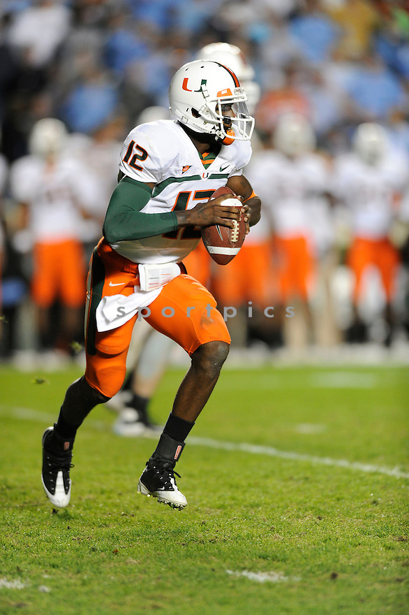 JACORY HARRIS, of the Miami Hurricanes, in action during the Hurricanes game against the North Carolina Tarheels on November 14, 2009 in Chapel Hill, NC. North Carolina won 33-24.
