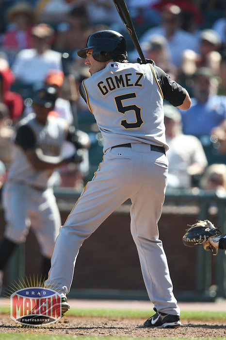 SAN FRANCISCO - SEPTEMBER 7:  Chris Gomez of the Pittsburgh Pirates bats during the game against the San Francisco Giants at AT&T Park in San Francisco, California on September 7, 2008.  The Giants defeated the Pirates 11-6.  Photo by Brad Mangin