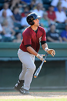 Catcher Colton Plaia (8) of the Savannah Sand Gnats bats in a game against the Greenville Drive on Sunday, June 22, 2014, at Fluor Field at the West End in Greenville, South Carolina. Greenville won, 7-3. (Tom Priddy/Four Seam Images)
