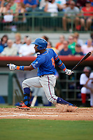 St. Lucie Mets center fielder John Mora (4) follows through on a swing during a game against the Florida Fire Frogs on July 23, 2017 at Osceola County Stadium in Kissimmee, Florida.  St. Lucie defeated Florida 3-2.  (Mike Janes/Four Seam Images)
