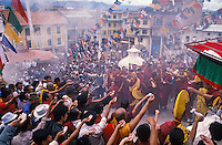 Celebrating losar, Tibetan New Year, at Boudha stupa in Kathmnadu Nepal.