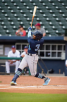Corpus Christi Hooks outfielder Ronnie Dawson (3) connects on a pitch on May 1, 2019, at Arvest Ballpark in Springdale, Arkansas. (Jason Ivester/Four Seam Images)